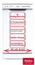 Amica Geschirrspüler 45cm unterbaufähig 9 Maßgedecke Spülmaschine Weiß