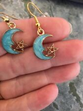 Teal Moon With Star Earrings Enamel Dangle Wire Hook Brass Alloy