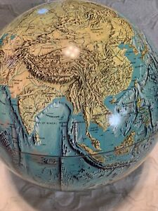 """VTG 1971 National Geographic Physical Globe Approx 16"""" Tall 50"""" C No Base Nice"""