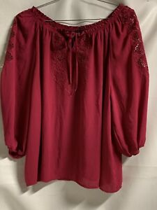 Cynthia Rowley Women 2X rose pink embroidery off the shoulder 3/4 Slvs top. T66