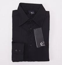 NWT $365 ROBERTO CAVALLI Black Cotton Dress Shirt Slim-Fit 48/S Crest Logo