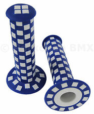 Old school BMX bicycle checkerboard grips - 125mm - BLUE and WHITE