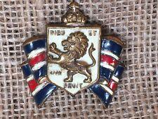 Accessocraft Dieu Et Mon Droit Enamel English Coat of Arms & Lion Pin Brooch