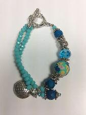 "Handmade Bracelet Charm 6.25"" Blue Glossy Marble Bead Silver Link Floral Crystal"
