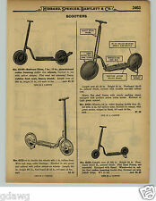 """1929 PAPER AD Balloon Tire Tires Sidewalk Scooter Heavy Steel Frame 42"""" Long"""