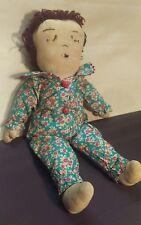 Antique Rag Doll Folk Art stitched face handmade
