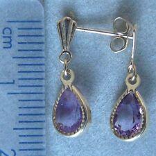 9ct Gold Tear-drop Amethyst With Diamond-cut Edging Dropper Earrings