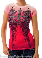 Pink Ombre Winged Fleur Rhinestone Sublimation Cap Sleeve Tee Top S M L XL