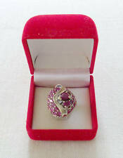 925 Vintage Sterling Silver & Rubies Cocktail Ring 17mm