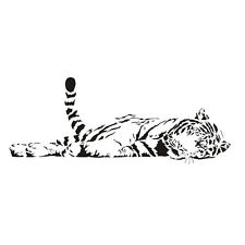 Animal tiger relaxing wall sticker waterproof home decal decor-S ED