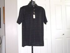 PETER MILLAR Men's NWT M Pink & Blue On Black Polo Plaid 100% Cotton