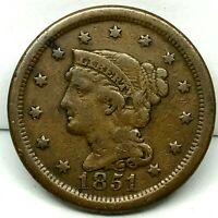 1851 Penny Braided Hair Large Cent - Original- Nice Coin. #2.3