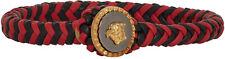 Brand New In Box $700 Versace Black & Red Medusa Braided Bracelet (Medium)