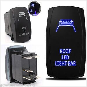 Blue 5 Pins On-Off 12V 20A Switch Backlit Car Roof LED Light Bar for 4x4 Offroad