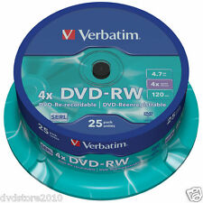 Verbatim DVD -RW Matt Silver 4.7GB 4X Pack Spindle 43639
