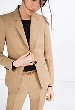Zara Ladies Camel Linen Blazer Jacket Size L UK 12 BNWT