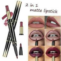 Waterproof Dual Pencil Lipstick Pen Matte Lip Liner Long Lasting Makeup