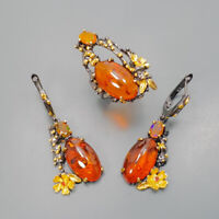 Amber Ring Silver 925 Sterling SET Fine Art Size 8 /R129153