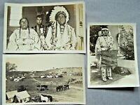 CAPO SIOUX INDIANO , SQUAW , ACCAMPAMENTO , 3 FOTO STORICHE VITAGE OLD PHOTO
