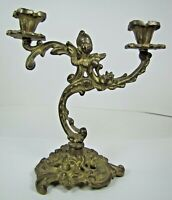 Old Brass Candlestick double candle holder winged cherub triple footed base