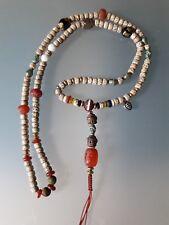 Buddhist Star and Moon Bodhi seeds 8x6mm Mala w/ Old Dzi Agate Guru Bead