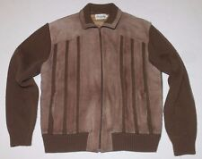 Vintage 80's Men's Brown Leather/Acrylic Jacket Coat by OLEG CASSINI - Size XL