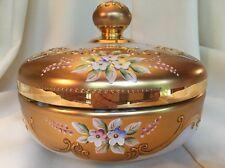 Rare Czech Bohemian White Glass Heavy Gold Enameled Flowers Covered Dish Bowl