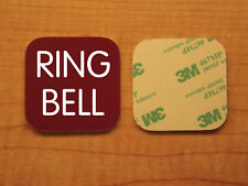 Engraved 3x3 RING BELL Plastic Tag Sign Plate   Burgundy Doorbell Plate Plaque