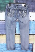 Maurices 3/4 Stretch Distressed Thick Stitch Slim Skinny Crop Capri Denim Jeans