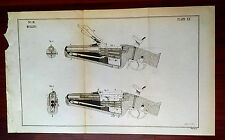 RARE Original 1892 Mullins Military War Rifle Gun Sketch Plate Diagram