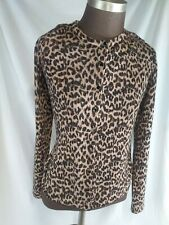 Lord & Taylor Leporard Print Pattern Long Sleeve Button Down Womens Top