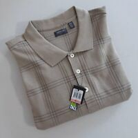ARROW Men's Big & Tall Jasper Windowpane Long Sleeve Polo Shirt NWT - Size 3XLT