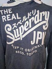 Men's Large Superdry JPN Indigo Edition Lite Blue Pull Over Hoodie Sweatshirt