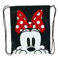 New Disney Minnie Mouse Face Drawstring Bag Backpack