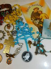 Religious Christian JEWELRY LOT Rosary Cross Medals Medallions Angel 4/7/8
