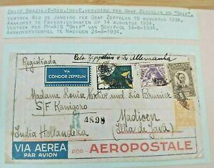 1934 GRAF ZEPPELIN COVER BRASIL BRAZIL TO DUTCH NEDERLAND INDIES B130.6 $0.99