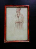 Superbe portrait orientaliste années 20 très belle sanguine signée
