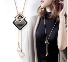 Damen Halskette Schmuck Collier Anhänger Silber lang Kette Mode Strass Luxus M20