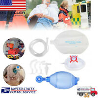 Manual Resuscitator Silicone For Adults Ambu Bag+Oxygen Tube CPR First Aid PVC