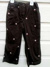 Ll Bean Girls Embroidered Cropped Owl Brown Pants Size 6x-7 Adjustable Waist C4