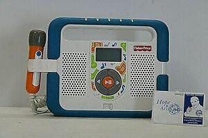 2009 Fisher Price Kid Tough MP3 Music Player Karaoke Mic Blue Boombox