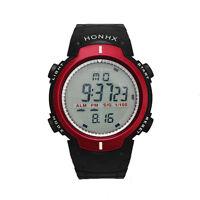 New Outdoor Waterproof Men's LED Digital Stopwatch Date Rubber Sport Wrist Watch