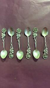 Antique 835 Silver German Hildesheimer Rose Style Sugar Spoons