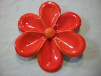 "(HuGE 3"") HiGH END QUALiTY~BRiGHT~VIBRANT ORANGE~ViNTaGE MeTaL ENaMeL FLoWeR PiN"