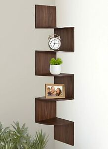 Greenco 5 Tier Wall Mount Corner Shelves Walnut Finish