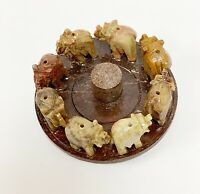 Stone Carving Soapstone Incense Sticks Burner With Elephant Figurines Design