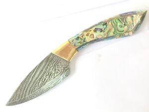 Custom Handmade Damascus  dagger Knife Abalone handle 9 inch