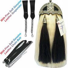 Scottish Kilt Original Long Horse Hair Dress Sporran Rampant Lion Cantle&Tassel.