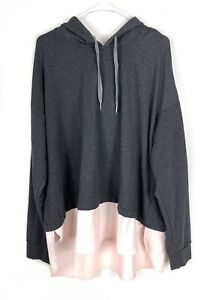 Calia By Carrie Underwood Hoodie Pullover Gray Size 2X Ruffle Hem Casual