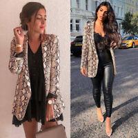 Women Snake Skin Print Long Sleeve Blazer Jacket Outwear Cardigan Coats C8T3